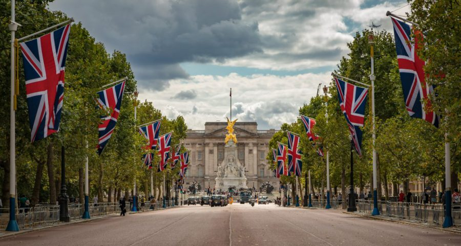 Buckingham Palace and Union Jack flags